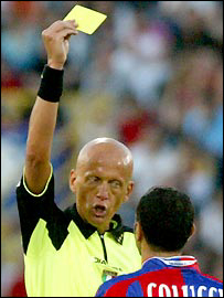 Referee's signals: bookings