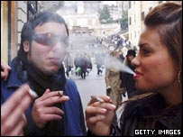 Teenagers smoking in Italy