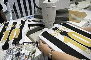 Demand for replica Owen shirts is high at the club shop at St James' Park