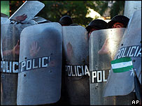 Riot police during clashes with protesters in Santa Cruz