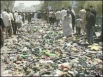 Shoes and debris left on the bridge in Baghdad