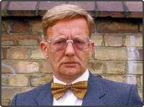 Michael Sheard in character as Grange Hill's Mr Bronson