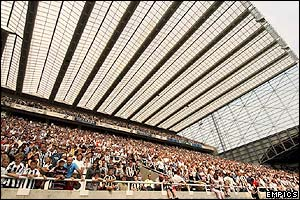 A huge amount of Newcastle fans pack into St James' Park