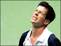 Tim Henman shows his frustration