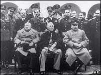 Churchill, Roosevelt and Stalin at the Yalta the 1945 Yalta conference.