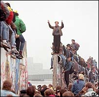 Germans celebrate the fall of the Berlin Wall