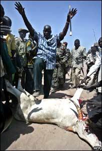 SPLM leader John Garang steps over a cow slaughtered in his honour in Rumbek