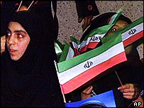 Iranian women at political demonstration