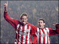 Southampton striker Peter Crouch celebrates