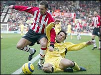 Claus Lundekvam kept a tight rein on Fernando Morientes