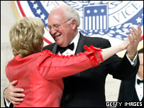 US Vice-President Dick Cheney dances with his wife Lynne at an inaugural ball