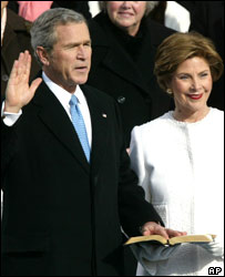 George W Bush is sworn in for a second term as US president