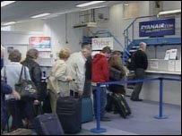 Ryanair passengers at Newquay Airport