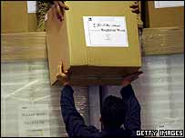Workers at Baghdad International Airport unload boxes of ballots, 19 January