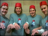 Four men from Blackwood who have each raised £200 to wear their costumes