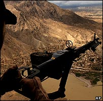 View from a US helicopter over Afghanistan
