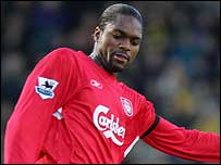 Salif Diao in action for Liverpool last season