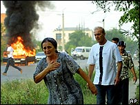 A car burns in Grozny this August after a shooting incident