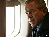 President Bush aboard Air Force One