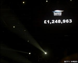 The final total raised by the night was flashed up on the big screens