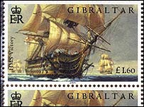 Wooden stamp depicting HMS Victory