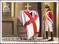 Wooden stamp depicting barrel containing Nelson's body after Battle of Trafalgar