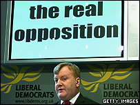 Charles Kennedy under sign saying