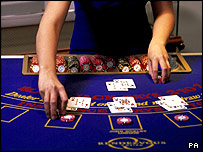 Blackjack table in casino