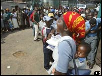 People queuing for basic goods at a store in Harare