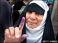 An Iraqi woman's ink-stained finger after voting, January 2005