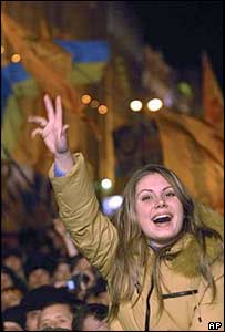 A Yushchenko supporter celebrates on Kiev's Independence Square. Archive picture