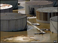 Chevron oil refinery in Pascagoula, Mississippi, flooded out by Hurricane Katrina