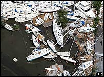Boats damaged by Hurricane Katrina in New Orleans