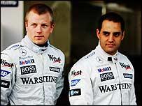 McLaren drivers Kimi Raikkonen (left) and Juan Pablo Montoya