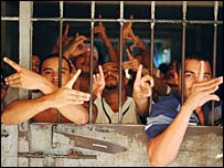 Gang members in Chalatenango prison. All 550 inmates in the jail are 18 members