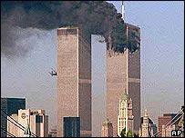 Hijacked plane crashing into North Tower of World Trade Center