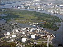 Oil refinery in southern Louisiana