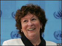 UN High Commissioner for Human Rights, Louise Arbour smiles at the end of a press conference in Beijing 02 September 2005.