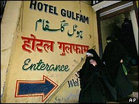 Members of Dukhtaran-e-Milat leaving a hotel