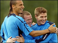 Rio Ferdinand, Wayne Rooney and Steven Gerrard 