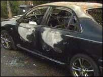 A car belonging to a taxi driver was burnt out