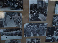 Photos of the war with Moldova in a window in the capital