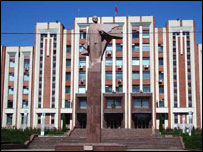 A statue of Lenin in the capital of Trans-Dniester, Tiraspol