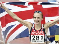 Paula Radcliffe celebrates winning the marathon In Helsinki, AP