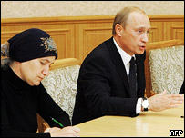 Russian president Vladimir Putin (right) during the meeting with Beslan relatives. File photo