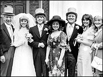 The cast of Bless This House in 1973, with Rowlands far right