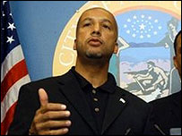 New Orleans Mayor Ray Nagin at a press conference on 27 August before Hurricane Katrina hit