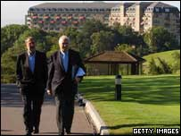 EU Council Secretariat Javier Solano (left) with Spanish Foreign Minister Miguel Cuvaube at the Celtic Manor on Friday