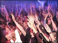 Clubbers dancing