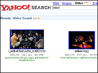 Screengrab of Yahoo's video search